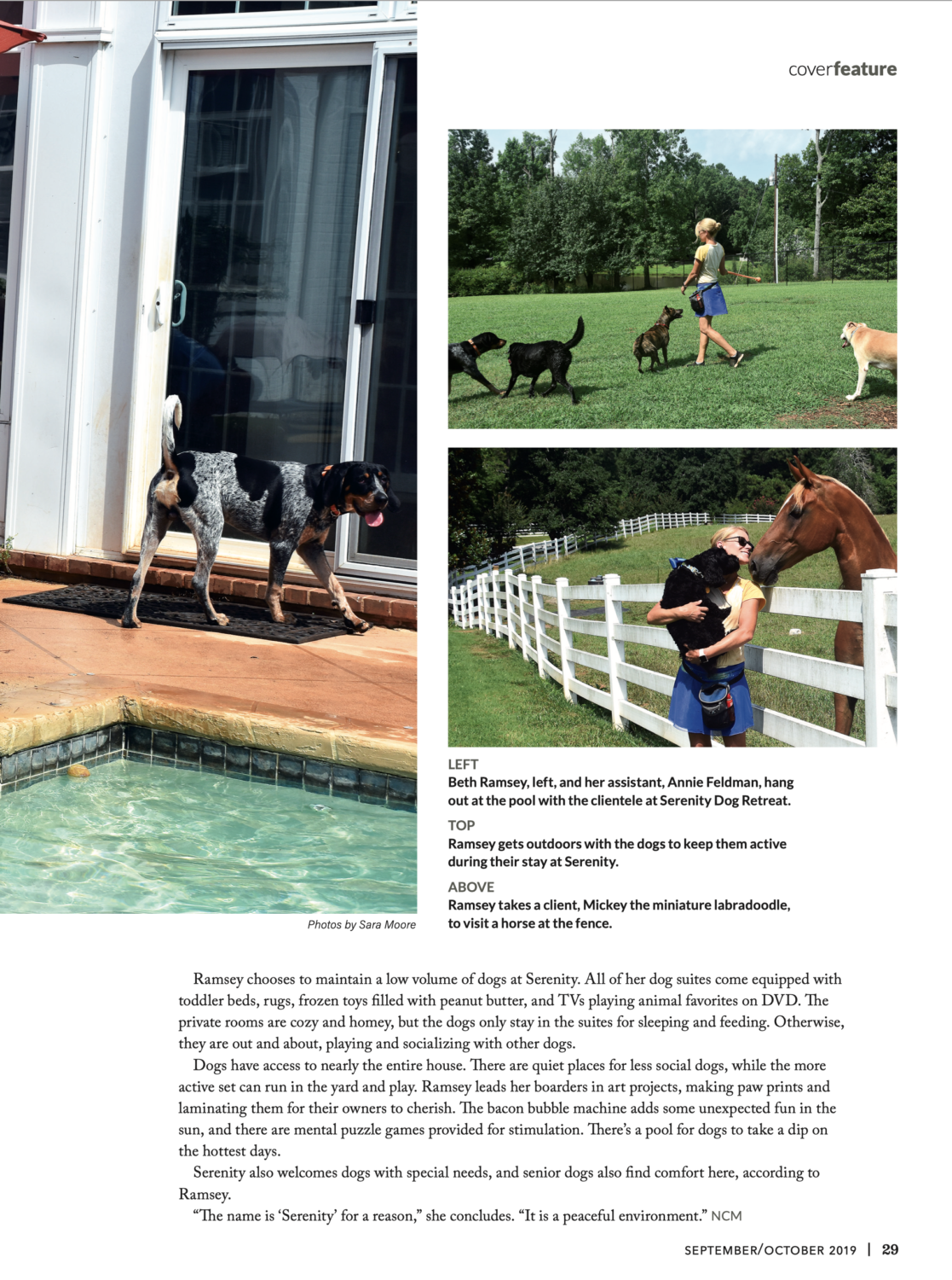 Newnan Coweta Magazine Article spotlights Serenity Dog Retreat with a three page article showcasing photos of our property.